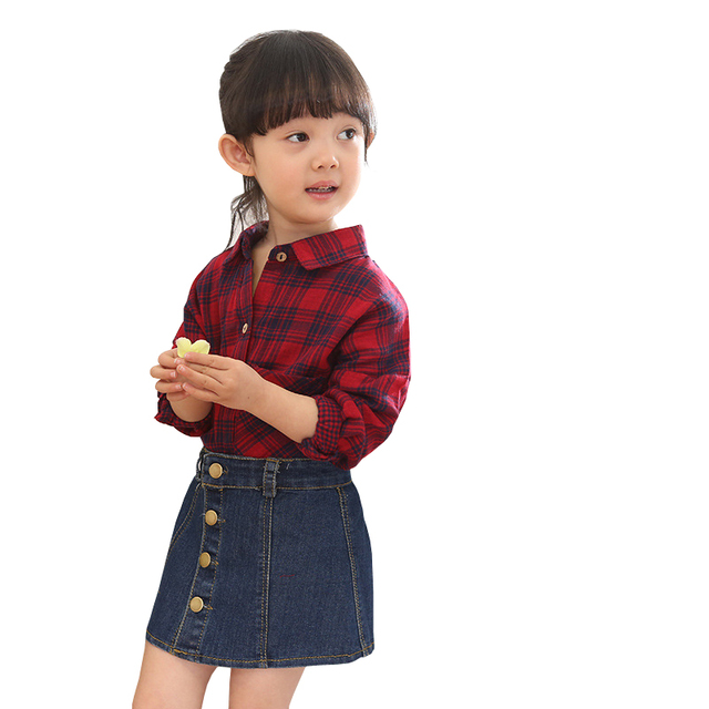 Spring and Autumn Girl Clothing Sets Long Sleeve Lattice Blouse + Denim Skirt Two-piece Girl Kids Fashion Cotton Sets