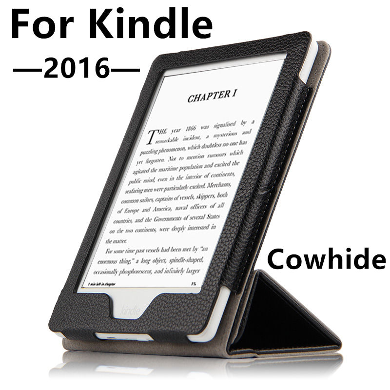 все цены на Case Cowhide For Kindle 2016 Protective eBook Reader Smart Cover Protector Genuine leather For Amazon Kindle New 2016 Sleeve 6'' онлайн