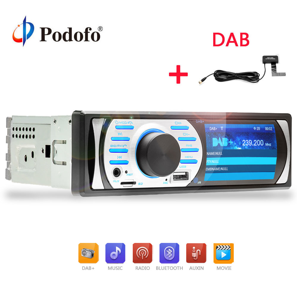 Podofo 1 din Car Radio DAB+Audio Radio FM MP5/AM/FM/Bluetooth/MP3/AUX Audio Player Build-in Mic Hands-free Car audio Player 10pcs retekess v115 fm am sw shortwave radio receiver with mp3 player rec voice recorder sleep timer