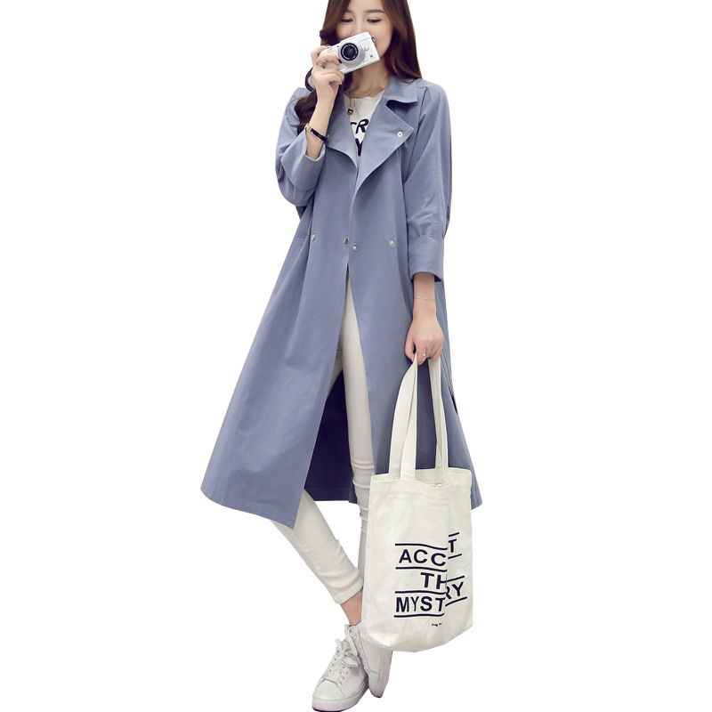 Fashion New 2019 Spring Women   Trench   Coat Large Size Belt Long Thin Windbreaker Casual Female Outerwear Mujer   Trench   Femme Coat