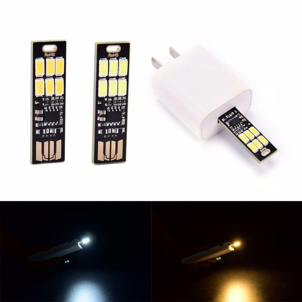 1pcs LED Lamp Portable Mini USB Power 6 LED Lamp 1W 5V Touch Dimmer Warm/pure White Light For Power Bank Computer Laptop