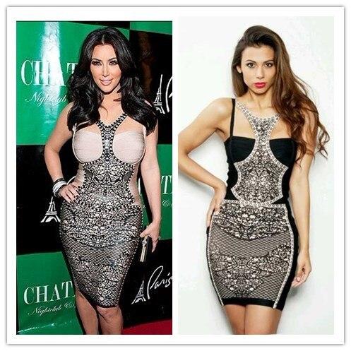 Kim Kardashian Kleid Damen HL Verband kleid Sleeveless Minikleid ...