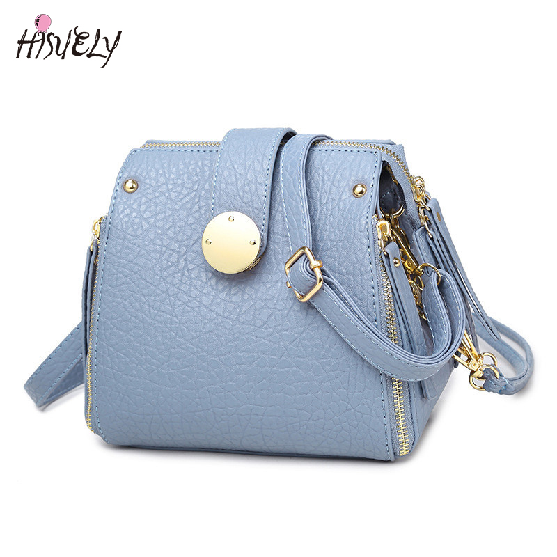 HISUELY Elegant Blue Women Shoulder Bag Zipper Lock Small Chain Bag for Ladies Crossbody Bags Designer Bags Messenger Sac Femme