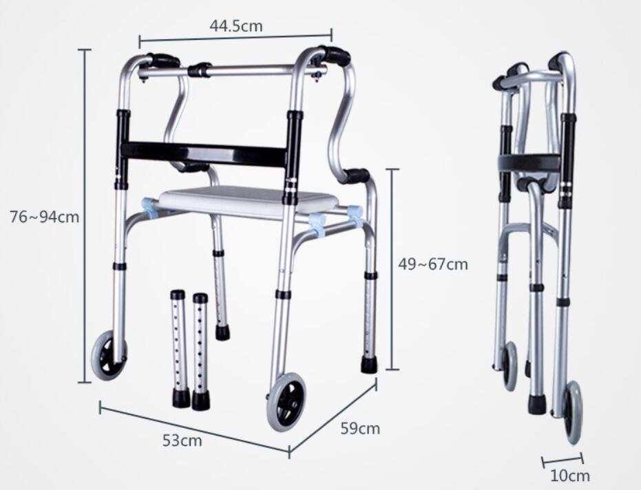 Portable walking aid mobility aids Folding olders Wheeled walker bathroom chair with Detachable seat boardPortable walking aid mobility aids Folding olders Wheeled walker bathroom chair with Detachable seat board