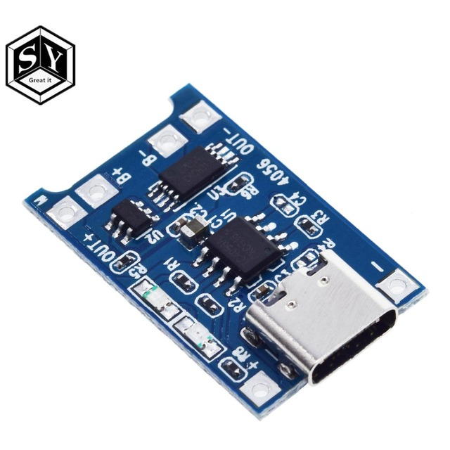 1PCS Great IT 5V 1A Micro USB 18650 type-c Lithium Battery Charging Board Charger Module+Protection Dual Functions TP4056 18650 4