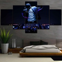 Wall Art Modular Picture For Bedroom Canvas HD Print 5 Piece DJ Music Painting Home Decor Djing Machine And Man Poster Framework djing for dummies