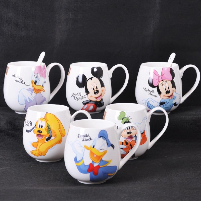 300-400ml Cartoon Cup Mickey Minnie Ceramic Cups Milk Creative Fashion Couples Handle Coffee Mug Kids Water Cup Gift