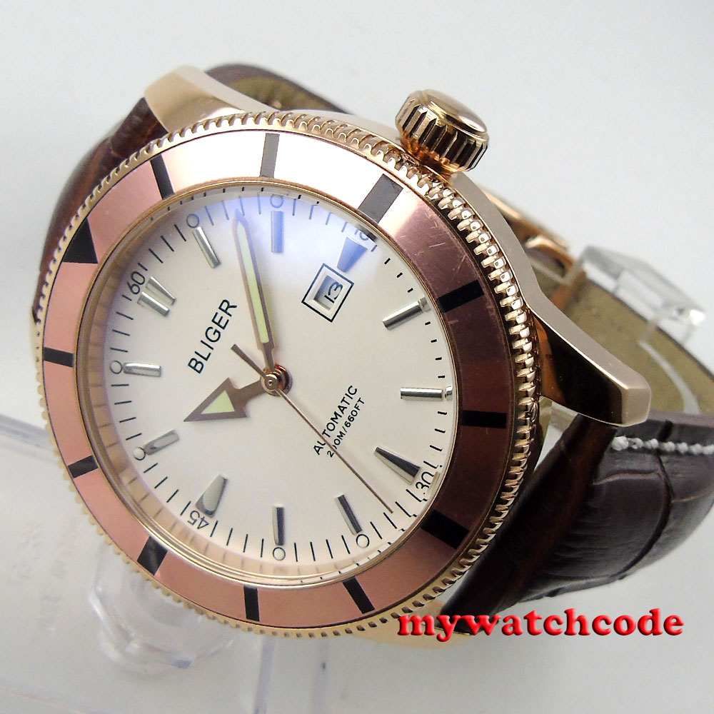 46mm bliger white dial rose golden case leather strap automatic mens watch B117 цена и фото
