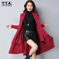 Fashion Women Medium Long Knitting Cardigan Fall Winter Solid Red Gray Black Plus Size 3XL Loose Long Sleeve Thick Poncho Coat