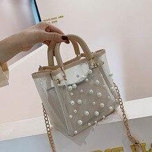Pearl Transparent Bag Elegant Tote Bags for Women Designer Handbag Chain Shoulder Messenger Clutch 2019