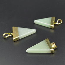 YA1639 Aventurine Triangle Pendant Gold color 37x26x7mm(China)