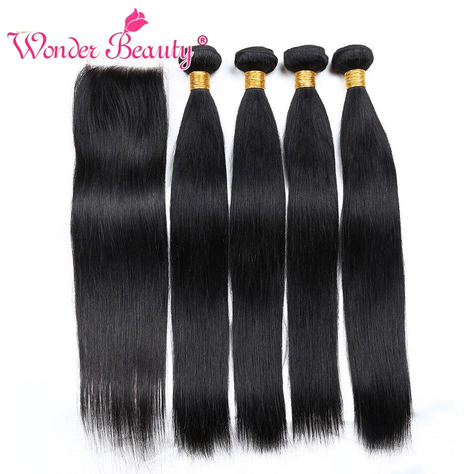 Wonder Beauty Peruvian Hair Straight 4 Bundles With Closure Middle Free Three part 5 bundles deal