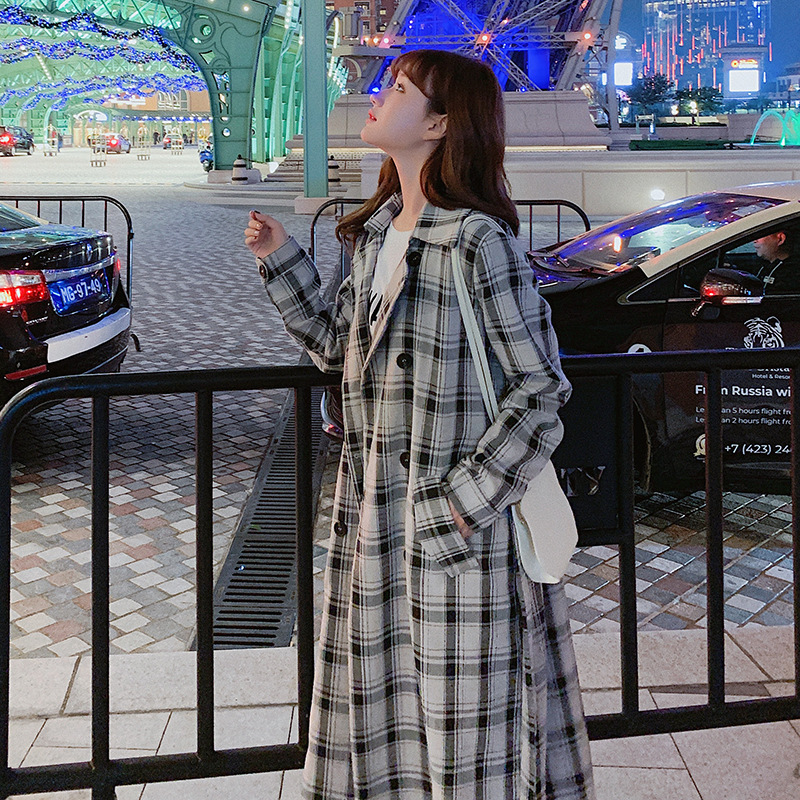 Long Plaid Trench Coat Women 2019 New Style Loose English Style Self-Cultivation College Trendy Coat Trend
