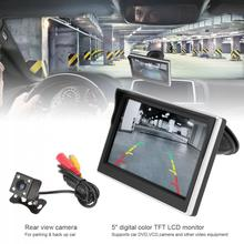 5 Inch Car TFT LCD Monitor 800*480 16:9 Screen 2 Way Video Input + 170 Degrees Wide Angle Lens Night Vision Rear View Camera