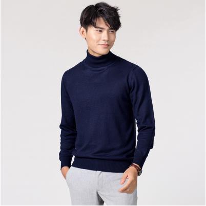 Кашемировая водолазка мужская, мужской свитер, одежда для осени и зимы, свитера цвета Омбре, пуловер для мужчин с высоким воротником - Цвет: Тёмно-синий