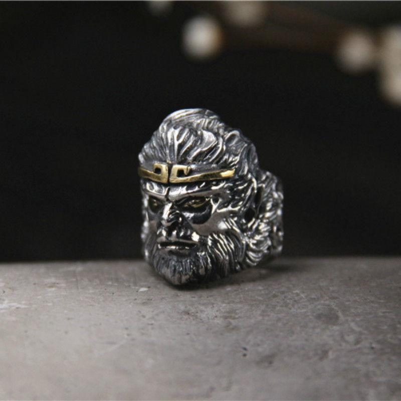 Sun Wukong singe roi conception spéciale fête en gros accessoires 925 en argent Sterling homme bijoux Unique