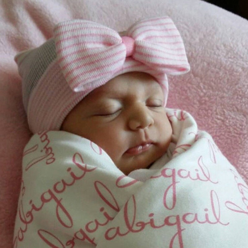 Newborn Baby Children Girl Colorful Striped Cotton Bow Cap Hospital Warm Soft Beanie Hat