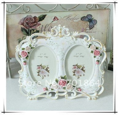 Size 35 X 5 White Double Photos Frames With Rose Flowers