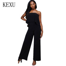 KEXU Rompers Women Summer New Style Wrapped Chest Back High Waist Jumpsuits Sexy Off Shoulder Wide Leg Casual Playsuits Overalls