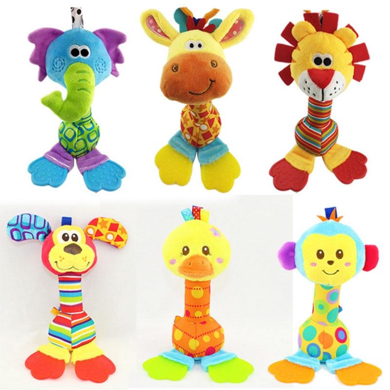 Új Baby Teether Rattles játékok újszülött Soft Cartoon állat plüss töltött játék gyerekek Oktatási Handbells csörgő baba játékok