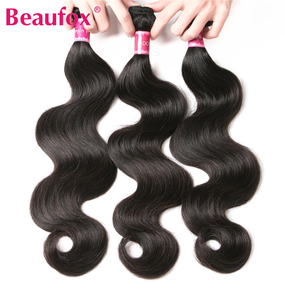 Beaufox Brazilian Body Wave Hair Weaves 3 Bundles Human Hair Bundles Natural Black Non Remy Hair Extensions Free Shipping