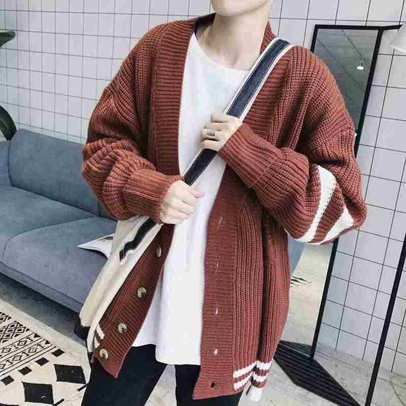 MIXCUBIC 2018 spring College style unique ripped hole Knitting sweater men casual loose white stripe Knitting Cardigan,M-XL