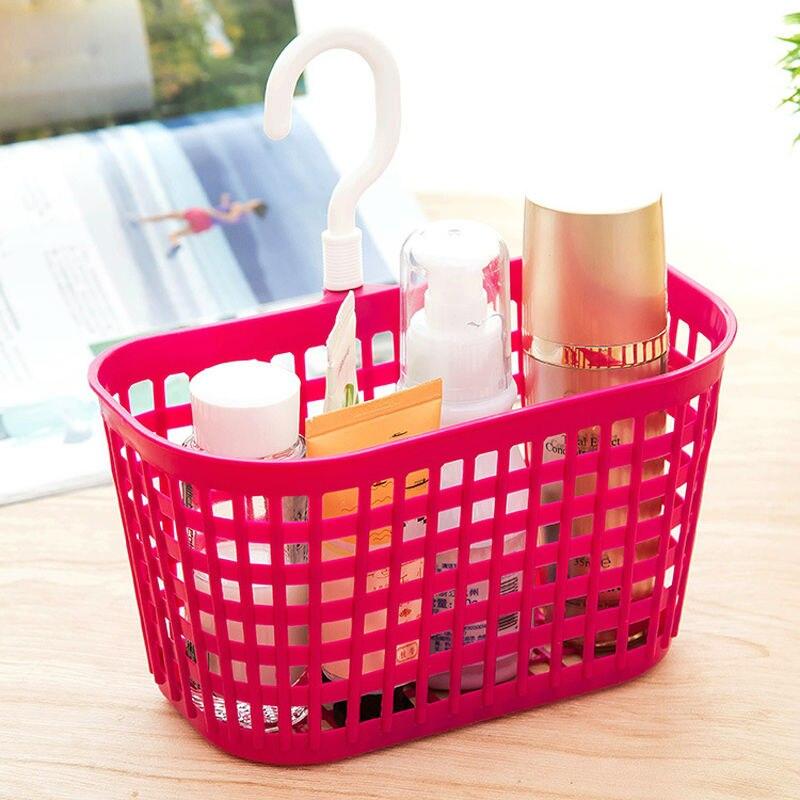 Fheal Portable Plastic Hanging Storage Basket With Hook Bathroom Toiletries Organizer Holder Cosmetic Sundries Bag