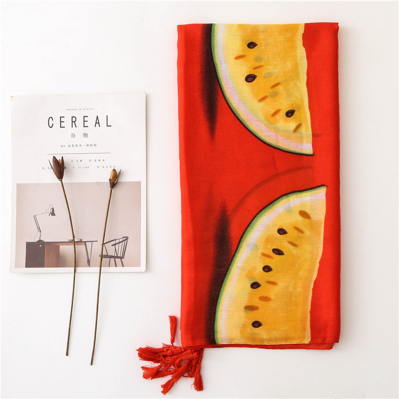 women fruit   scarf   female summer Japanese style kawaii cute long red yellow watermelon print   scarf     wraps   shawl pashmina