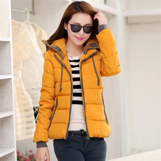 Новая зимняя куртка женщин 2016 моды Хлопок Короткий Жакет Сельма Капюшоном куртки верхняя одежда зимнее пальто женщины Красивая девушка куртка W006