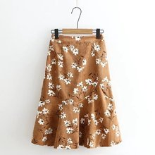 Women Autumn Winter New Print Casual Skirt Female 2017 Slim-type Blended High Quality A-Line Fashion Loose Elastic Waist Skirt