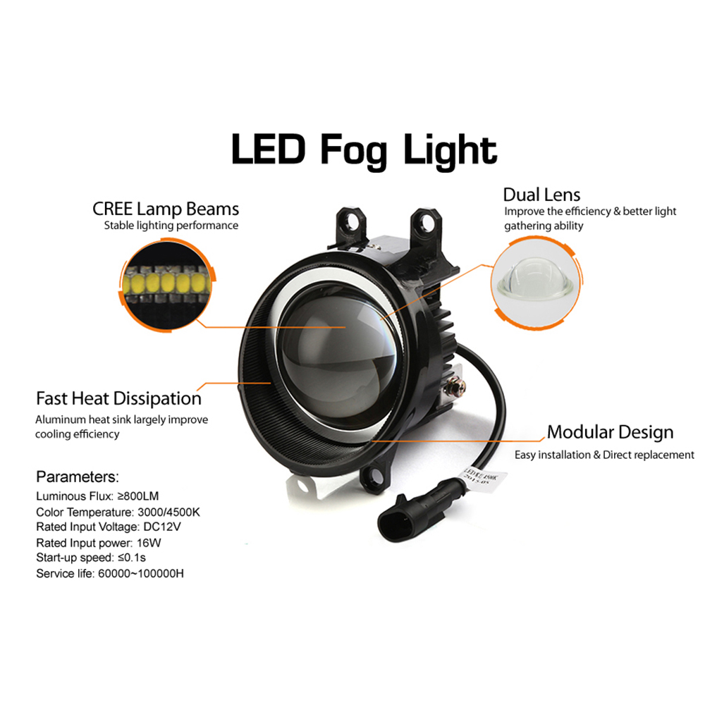 4500K Car Styling 16W DRL Dual Lens LED Front Fog Lamp Driving Light for Toyota Verso Camry Levin Corolla Lexus ES RX Reiz цены