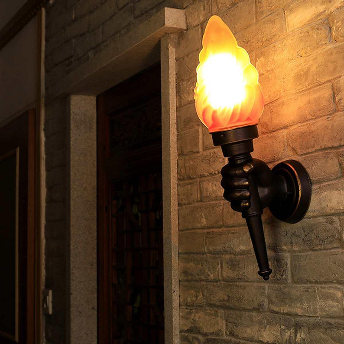 Lampe à main rétro torche Creatives mur LED lumière pour éclairage intérieur extérieur pour balcon chambre Loft E27 luminaire