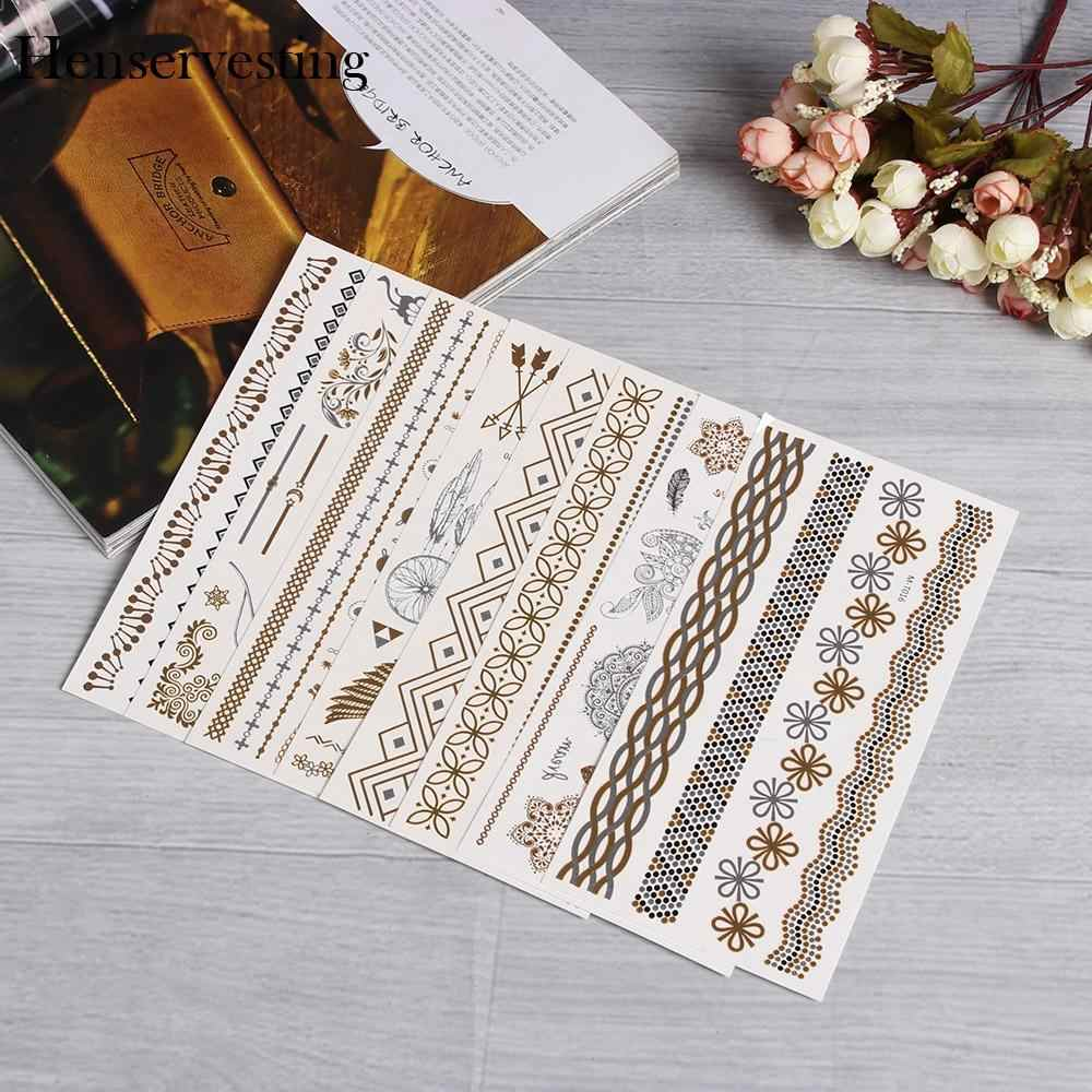Art Removable Silver Products Body Tattoos Temporary Leaf  Flower Stickers  Gold  Color