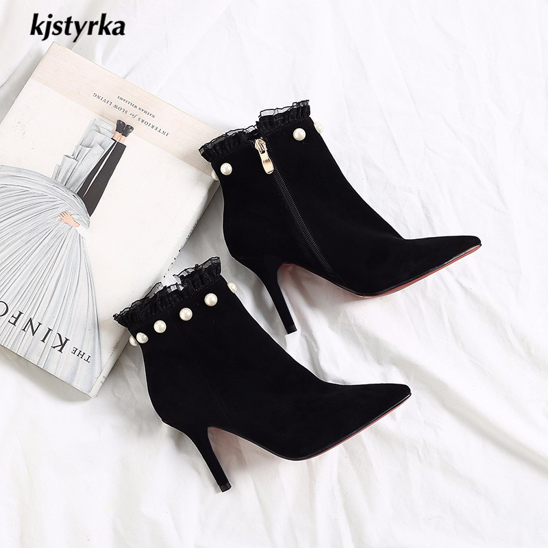 aliexpress.com - Kjstyrka 2018 botas mujer Women Ankle Boots red bottom  pointed toe lace elegant ladies beads 9cm thin heels sapato feminino -  imall.com c2a0ef4a096e