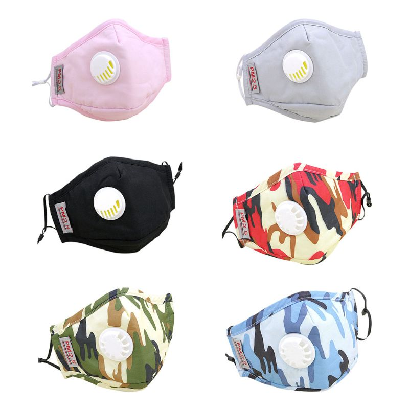 Adult Unisex PM2.5 Cotton Mouth Mask Replaceable Carbon Air Filter Camouflage Mouth-Muffle Respirator With Exhaust Valve