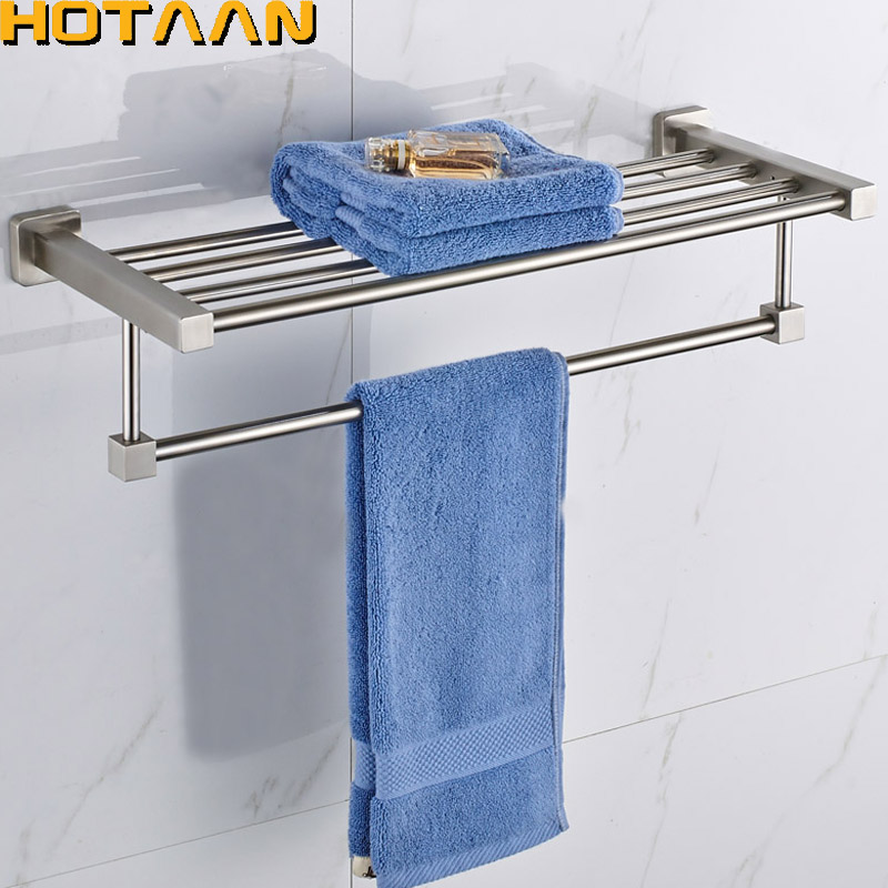 FREE SHIPPING, Bathroom towel holder, 304#stainless steel satin nickel towel rack,60cm round towel rack ,YT-13501 free shipping bathroom towel holder zinc alloy antique brass towel rack 60cm bath towel rack yt 4011