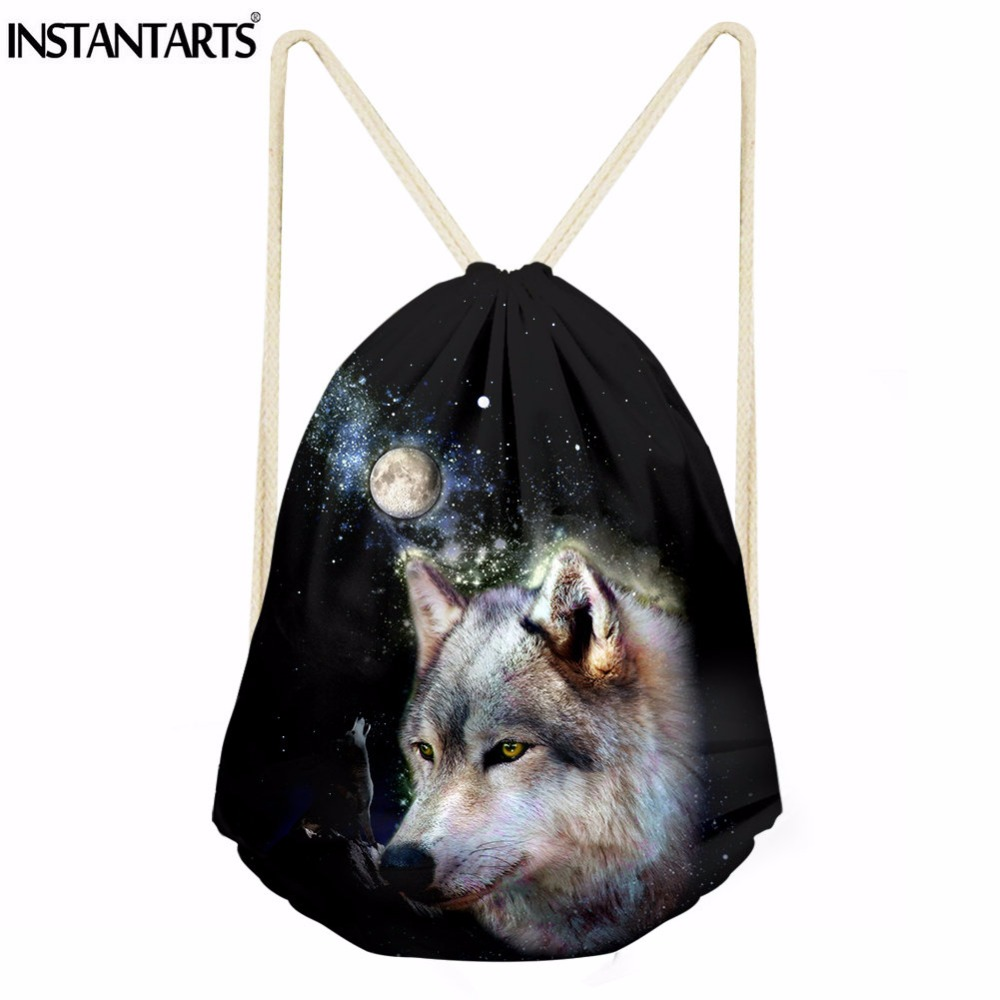 INSTANTARTS Animal Wolf Printing Small Drawstring Bag Casual Men's Travel String Backpack Boys School Book Stroage Bags Sack