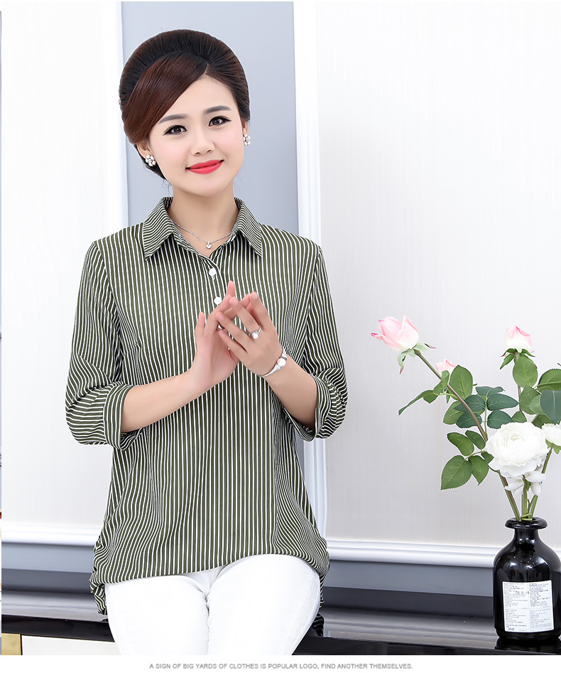 Women Casual Shirts Vertical Stripe Blouses Woman Three Quater Sleeve Top Mother Leisure Shirt Green Black Khaki Stripes Blouse (12)