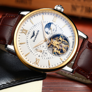 Image 3 - 2018 Fashion GUANQIN Mens Watches Top Brand Luxury Skeleton Watch Men Sport Leather Tourbillon Automatic Mechanical Wristwatch