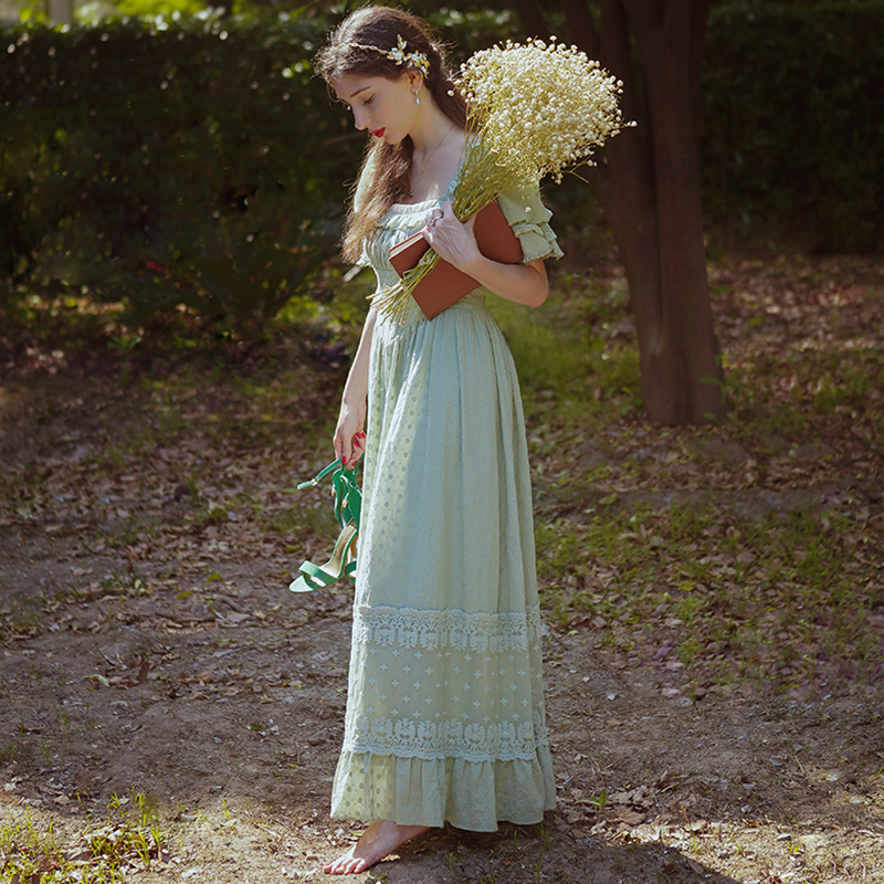 Pure Cotton Vintage Lace Princess Long Dress Original Design Short Sleeved Sleepwear Mint Green Elegant Women Nightdress