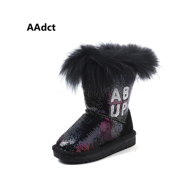 AAdct Cotton warm snow boots for glitter girls New fashion shinning girls boots 2018 Winter non-slip kids boots aadct cotton warm children snow boots for glitter girls new fashion shinning short girls boots 2018 winter kids boots