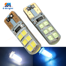 цена на 20/100pcs 12V T10 Canbus 2835 12 SMD LED Bulbs Silica Car Door Instrument Reading Clearance Lights White Ice Blue Free Shipping