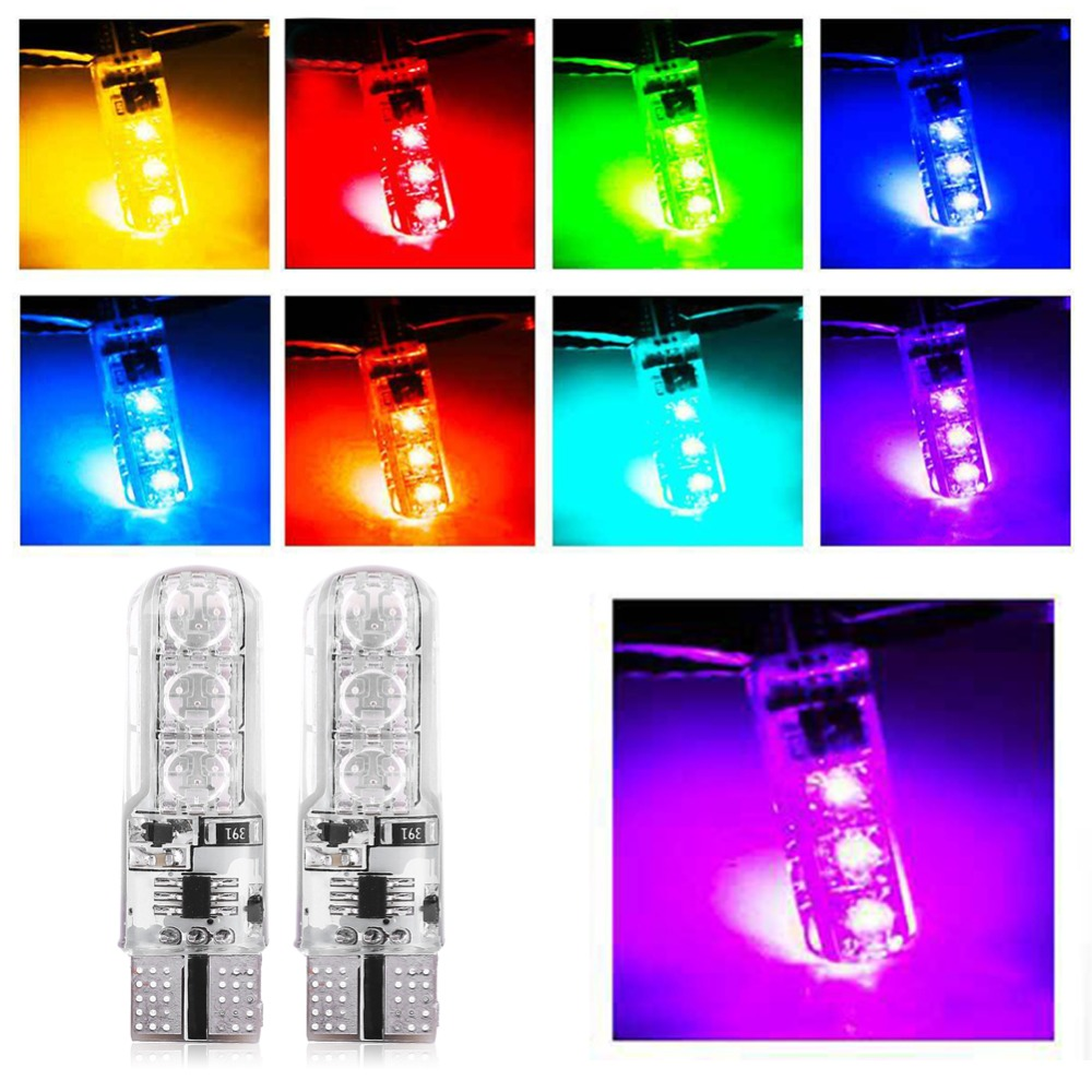 1Pair of T10 5050 W5w 501 Remote Control Car LED Bulb Strobe Led Lamp Reading Lights White Red Amber 12V SMD Multicolor