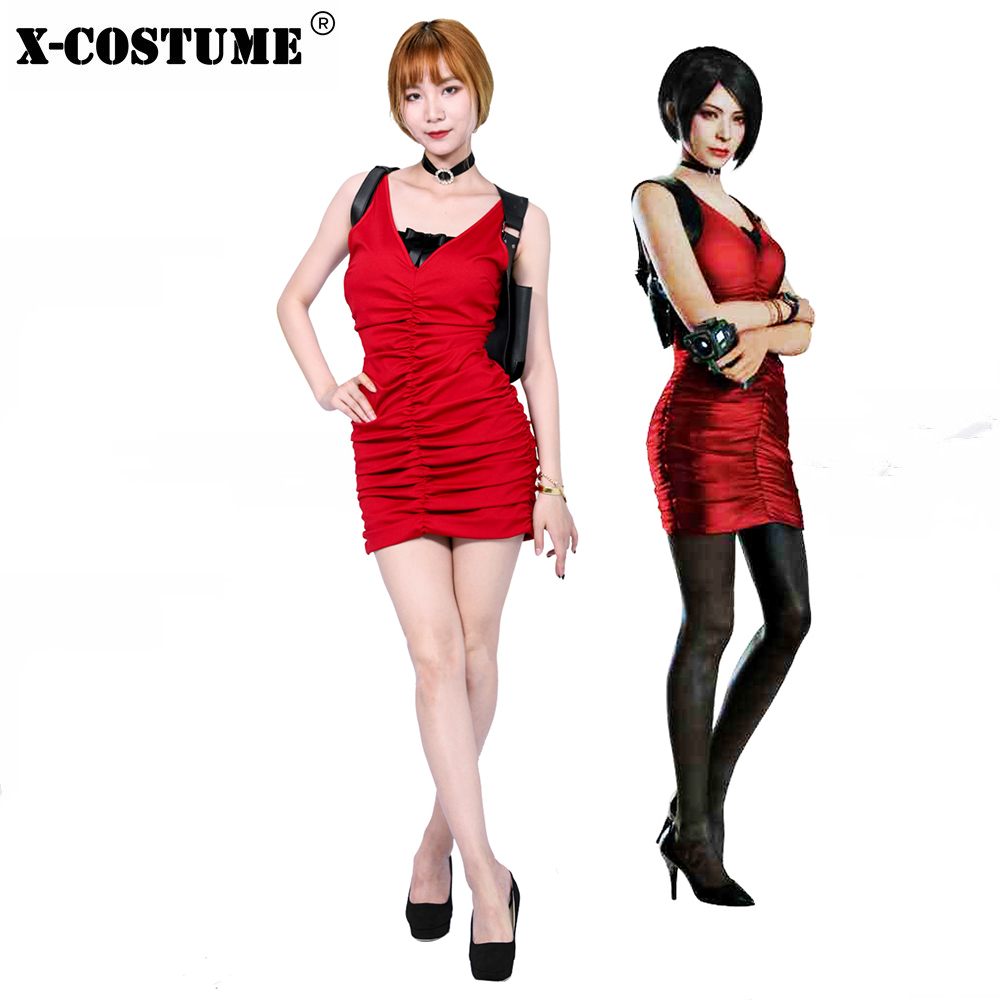 XCOSER BioHazard RE2 Ada Wong Costume Red Cotton Cosplay Costume 2019 Halloween Gift Women Party