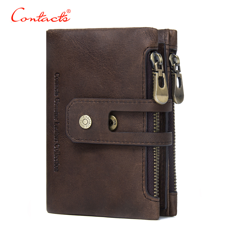 CONTACTS New Genuine Leather Men Wallet Small Men Walet Zipper Hasp Male Short Coin Purse Carteira For Rfid card holder wallet