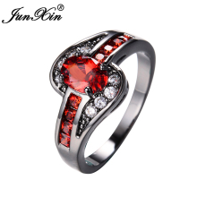 JUNXIN Female Red Oval Ring Fashion White & Black Gold Filled Jewelry Vintage Wedding Rings For Women Birthday Stone Gifts