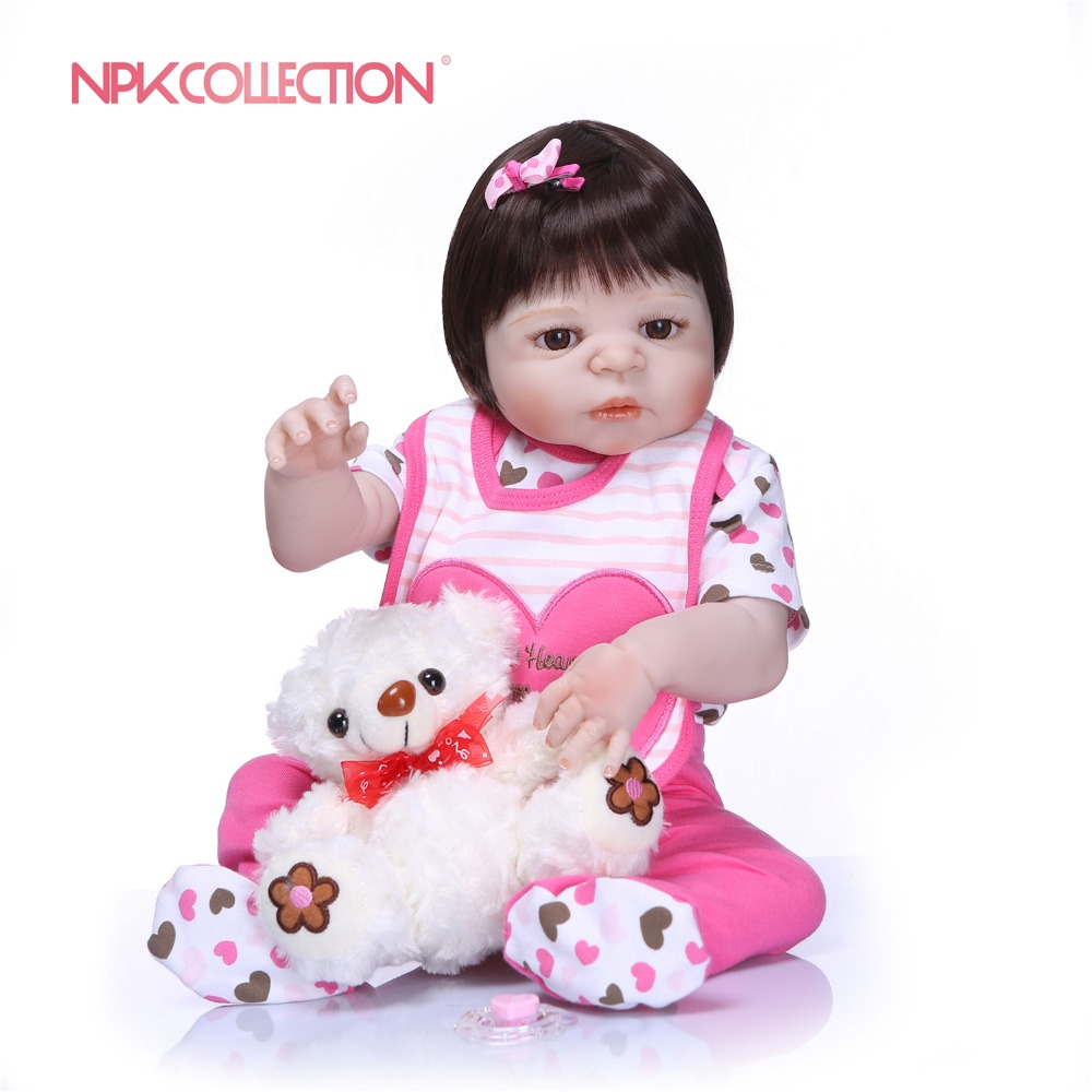 NPKCOLLECTION Reborn Baby Girl Doll Full Silicone Body Lifelike Bebes Reborn Real Life Bebes Reborn Alive Doll Girls Toy Gifts