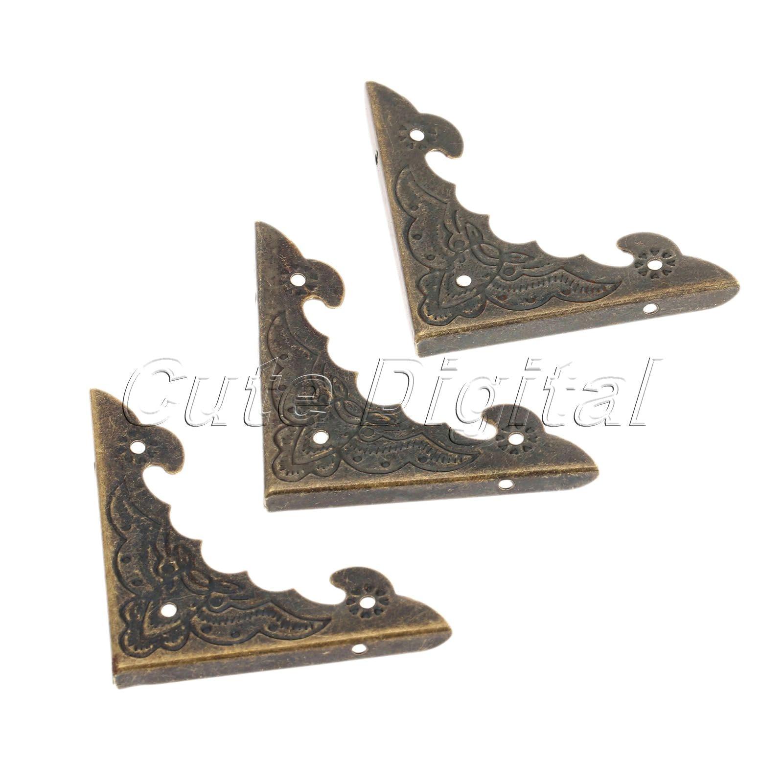 12pcs Bronze/Golden Metal Book Scrapbooking Albums Menus Folder Corner Protector Wooden Jewelry Box Decorative Corners Bracket golden bronze sparkle