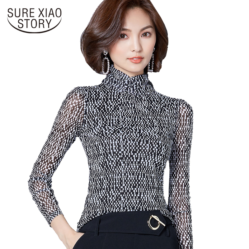 2019 Autumn New High-collar Printing Slim Net Yarn Bottoming Shirt Korean Long-sleeved Chiffon Plus Size Women Blouse Top 83i 30