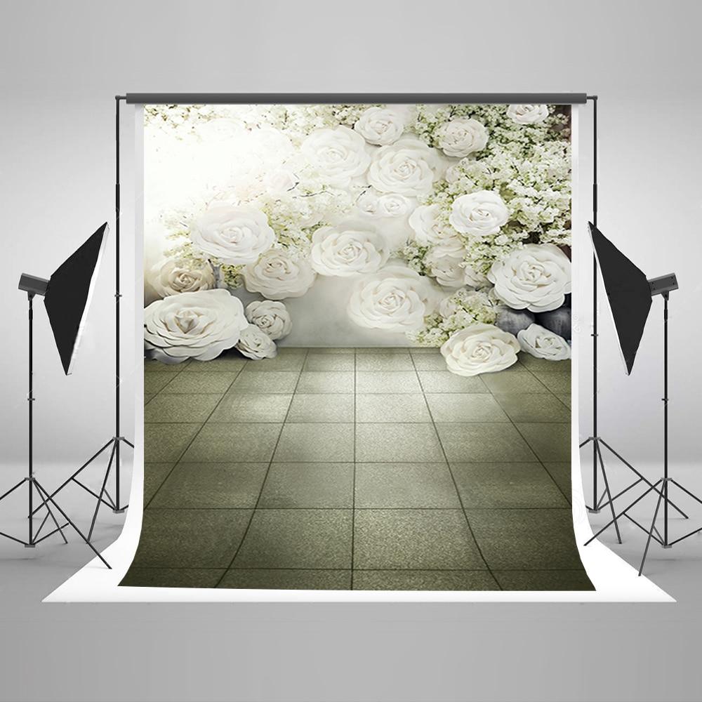 Wedding Background Sunny White Flowers Backdrops Gray Stone Brick Floor Backdrop for Photo Studio